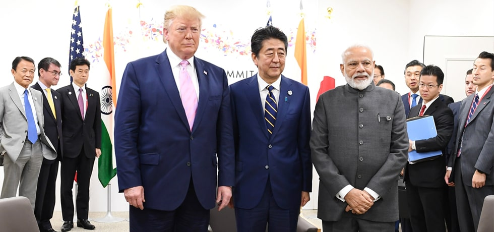 Japan-America-India trilateral meeting between Prime Minister, Donald J. Trump, President of United States and Shinzo Abe, Prime Minister of Japan on the sidelines of G20 Summit in Osaka