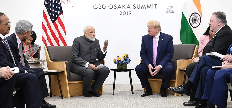 Prime Minister meets Donald Trump, President of United States on the sidelines of G20 Summit 2019 in Osaka, Japan