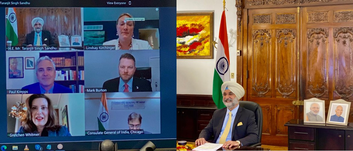 Press Release - Ambassador Taranjit Singh Sandhu interacts with Governor Gretchen Whitmer of State of Michigan