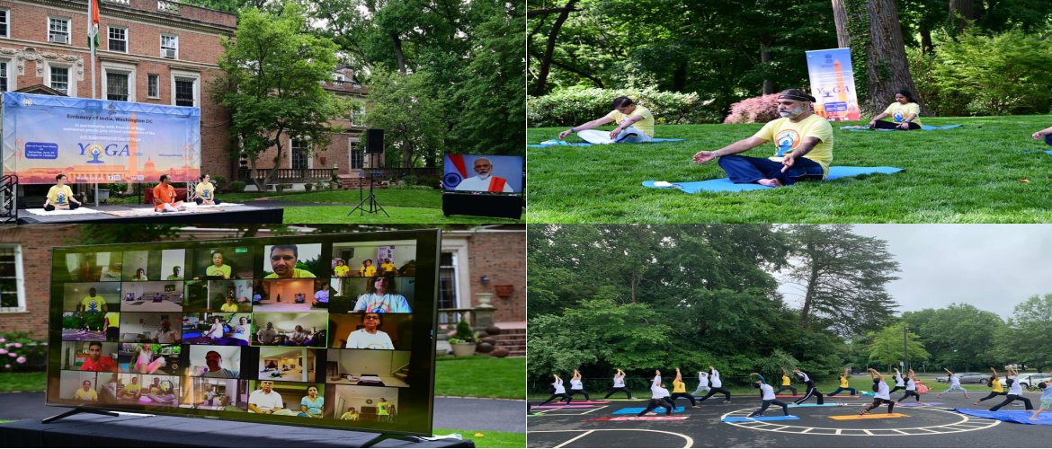 Embassy of India in Washington, DC virtually celebrated the 6th International Day of Yoga from Ambassador's Residence and joined by hundreds of people remotely through the live feed.